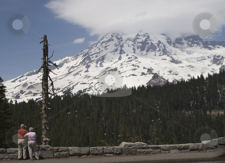 Tourists Looking at Mount Rainier stock photo, Tourist Looking at Mount Rainier, National Park, Washington, Northwest by William Perry