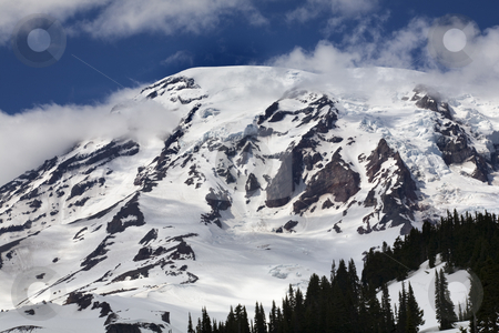 Mount Rainier Cloudy Paradise  stock photo, Mount Rainier Cloudy Paradise Snow Mountain by William Perry