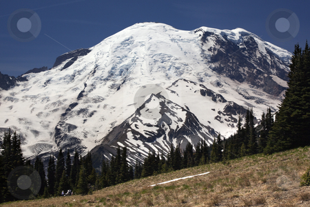 Mount Rainier Sunrise Picnic Time  stock photo, Mount Rainier Sunrise Picnic Time Snow Mountain by William Perry