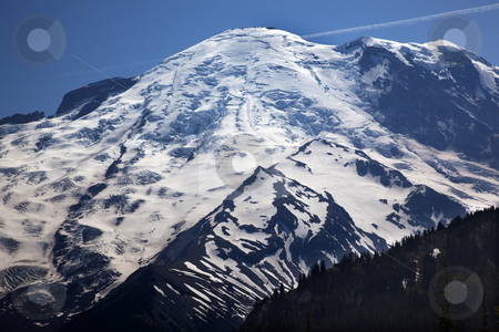 Mount Rainier Close Up From Sunrise Snow Mountain  stock photo, Mount Rainier Close Up with Details Sunrise Snow Mountain by William Perry