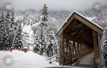Wooden Covered Bridge Snowy Trees Washington stock photo, Wooden Covered Bridge, Snowy Trees, Alpental, Snoqualme Pass, Washington, Northwest by William Perry