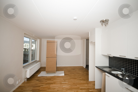 New apartment stock photo, New kitchen in a new apartment by Fredrik Elfdahl