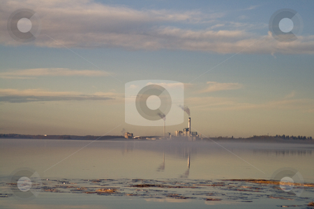 Power plant stock photo, A power plant with fog and smoke by Fredrik Elfdahl