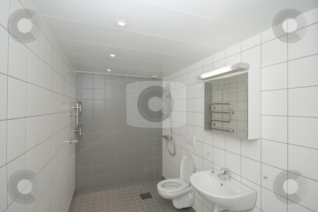 New bathroom stock photo, A new bathroom in a new apartment by Fredrik Elfdahl