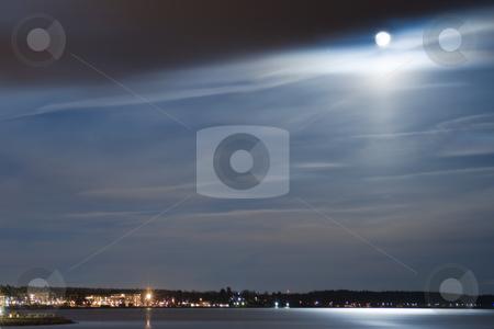 Moonlight stock photo, Moonlight over the sea by Fredrik Elfdahl