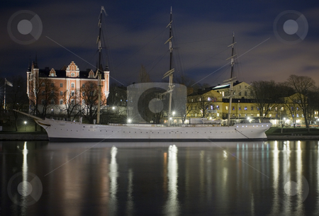 Ship and houses stock photo, A large ship and a palace by Fredrik Elfdahl