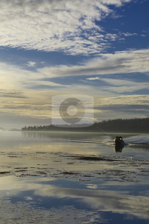 Water and Boat stock photo, Open water and a boat approaching by Fredrik Elfdahl