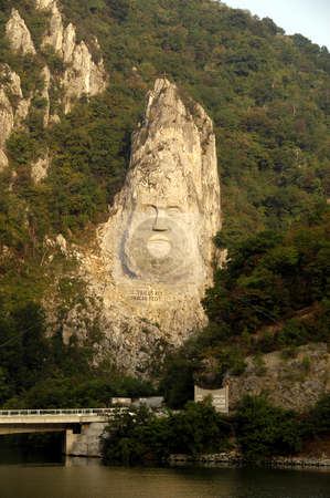 King Decebalus stock photo, Romania, Iron Gate gorge, Danube River, Monument to King Decebalus by David Ryan