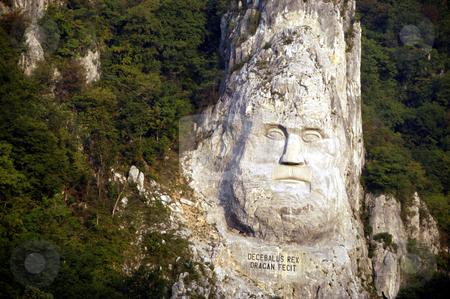 King Decebalus stock photo, Romania, Iron Gate gorge, Danube River, Monument to King Decebalus by David Ryan