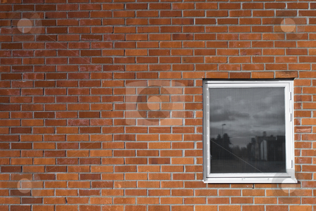 Brickwall and a window stock photo, Brickwall and a window by Fredrik Elfdahl