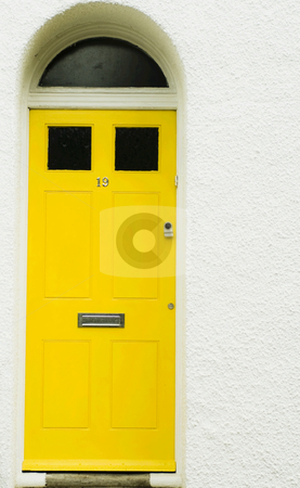 Yellow door stock photo, Yellow door and white wall by Fredrik Elfdahl
