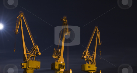 Old crane stock photo, An old crane in the moon light by Fredrik Elfdahl