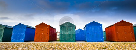 Color houses stock photo, Colored houses at the beach by Fredrik Elfdahl