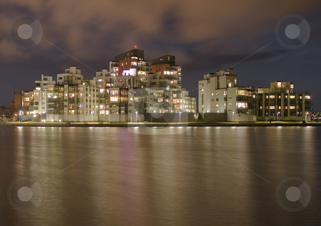 Night view  stock photo, Night view of houses by the sea by Fredrik Elfdahl