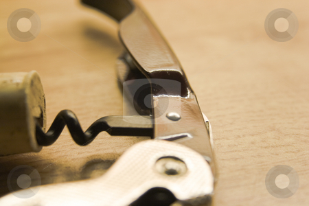 Corkscrew stock photo, Corkscrew with a cork by Fredrik Elfdahl