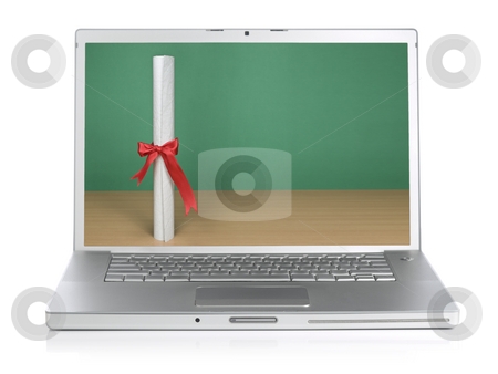 Education today stock photo, A diploma and a blank chalkboard on the laptop screen. Isolated on white. by Ignacio Gonzalez Prado