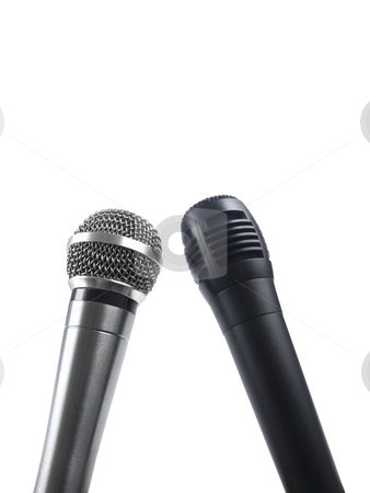 Two mics stock photo, A black and a silver microphones isolated with copy space. by Ignacio Gonzalez Prado