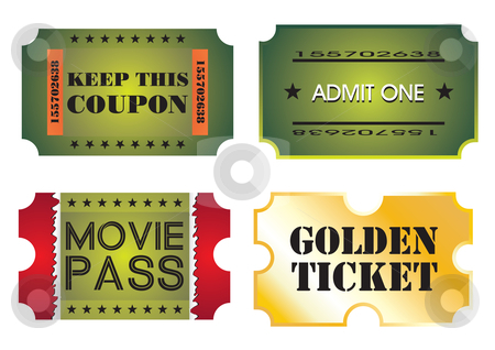 Set of colorful cinema tickets stock vector clipart, Set of colorful cinema tickets, vector illustration by Milsi Art