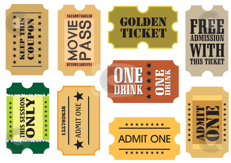 Vintage cinema tickets stock vector clipart, Set of Vintage cinema tickets, vector illustration by Milsi Art