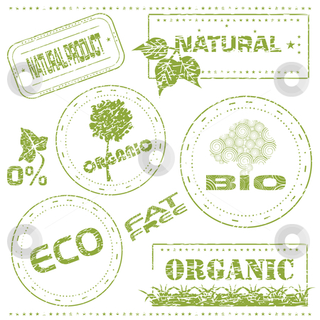 Eco stamps stock vector clipart, Set of grungy eco stamps, vector illustration by Milsi Art