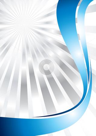 Sunburst background   stock vector clipart, Silver sunburst with blue lines, vector illustration by Milsi Art