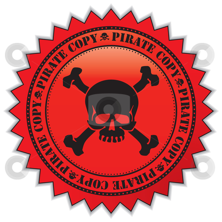 Pirate copy label stock vector clipart, Pirate copy label with scull, vector illustration by Milsi Art