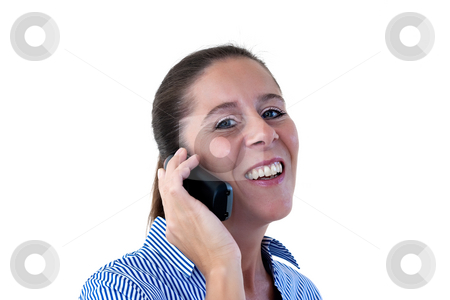 Middle Aged Business Woman Laughing on the Phone stock photo, Middle aged business woman laughing while talking on the phone on a white background by Keith Wilson