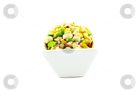 Soup Pulses in a Dish stock photo, Assorted soup pulses in a dish with a white background by Keith Wilson