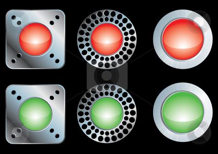 Shiny metal buttons stock vector clipart, Set of shiny metal buttons, vector illustration by Milsi Art