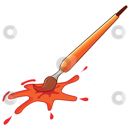 Paintbrush stock vector clipart, Paintbrush with splat of color, vector illustration by Milsi Art