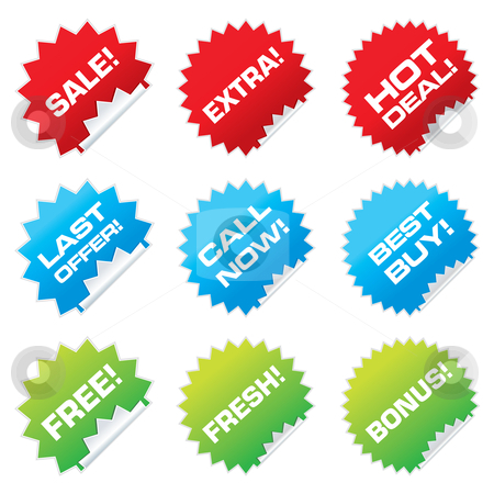 Sale stickers stock vector clipart, Set of colorful vector sale stickers and labels. by Milsi Art