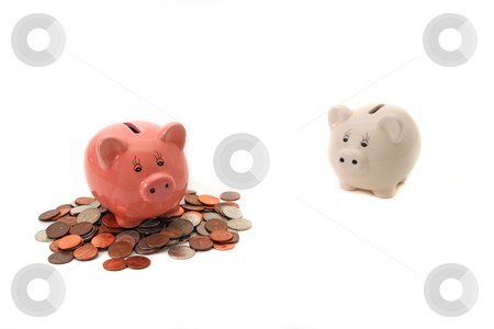 Savings stock photo, Pink  little piggy has some savings and white little piggy had none by Jack Schiffer