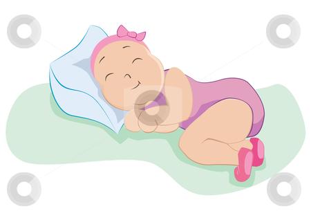 Baby girl illustration stock vector clipart, Baby girl in sweet dreams, vector illustration by Milsi Art