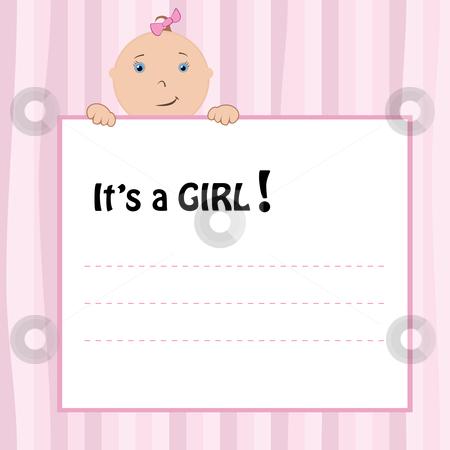 Birth Announcement Card stock vector clipart, Birth Announcement Card - baby girl, vector illustration by Milsi Art