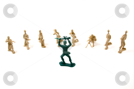 Surrender Concept  stock photo, Isolated Plastic Toy Soldiers - Surrender by Mehmet Dilsiz