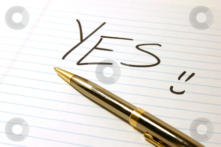 YES - Notepad & Pen stock photo, YES - Notepad & PenIsolated by Mehmet Dilsiz