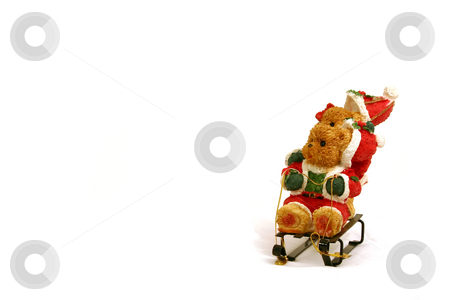 Christmas Decoration stock photo, Christmas Decoration - Teddy bears on slide by Mehmet Dilsiz