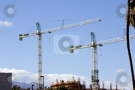 Construction site with Two Cranes in the strip in Las Vegas stock photo, Construction site Cranes in the strip in Las Vegas by Mehmet Dilsiz