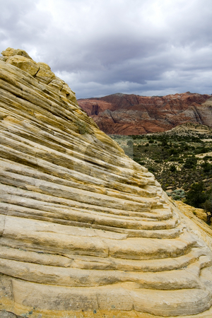 Looking down the Sandstones in to Snow Canyon - Utah stock photo, Snow Canyon in St. George, Utah - Sandstones by Mehmet Dilsiz