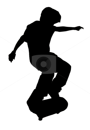 Skateboarding Kid up in the Air - Silhouette stock photo, Close up to a Boy Jumping in the Air with a Skateboard by Mehmet Dilsiz