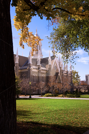 Church in Mormon Temple Square stock photo, Church in Mormon Temple Square in Salt Lake City, Utah by Mehmet Dilsiz