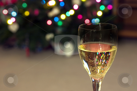 Celebrating the Holidays stock photo, Close up on a Wine Glass with the Christmas lights on the background by Mehmet Dilsiz