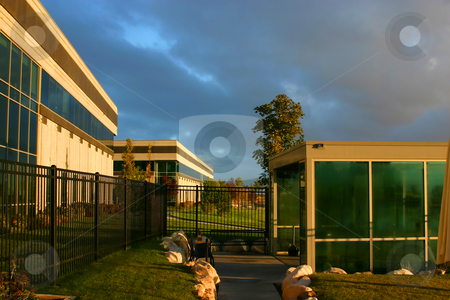 Sunrise by the Business Campus stock photo, Sunrise by the Business Buildings by Mehmet Dilsiz