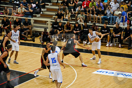 FIBA Trentino Cup: Italy vs Canada stock photo, Game 2 of FIBA Trentino Cup: Italy vs Canada. The tournament was played in Trento (Italy) between the 25th and the 27th of July 2009. Photo taken on the 25th of July, 2009 by Alessandro Rizzolli
