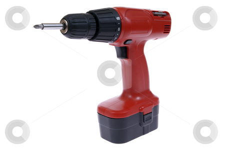 Drill stock photo, Red battery's drill isolated on white background by Jolanta Dabrowska