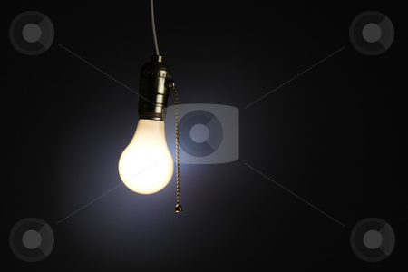 Light Bulb stock photo, Old fashioned light bulb with pull chain by James Barber