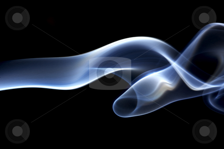 Graceful smoke stock photo, Beautiful, graceful, ribbon of translucent blue smoke by James Barber