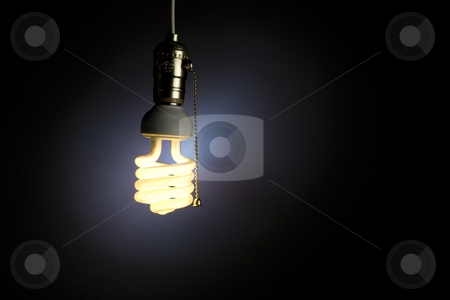 Light Bulb stock photo, A light bulb with pull chain hanging from the ceiling by James Barber