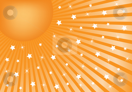 Abstract Background Orange with White Stars stock vector clipart, Orange sunburst background with various white stars giving a celebration feel to the design. Small space to add copy text by toots77
