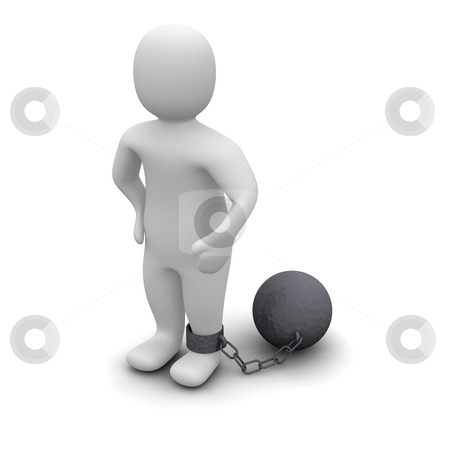 Criminal with ball and chain stock photo, Criminal with ball. 3d rendered illustration isolated on white. by Jiri Moucka